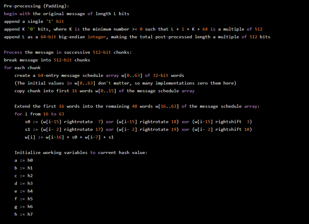 Pre-processing (padding) :  begin with  the original message  of length  append a single '1' bit  append K 'e' bits, where K is the minimum  b:  L bits  number  such that L + 1  64 is  a multiple  of 512  ø  total post-processed length a multiple of 512 bits  append L as a  64-bit big-endian integer,  making the  Process the message in successive 512-bit chunks:  break message into 512 bit chunks  for  each chunk  -entry message schedule  array w[ø. .63] of 32-bit words  create a 64  (The initial values  in w[e. .63] don't matter, so many implementations zero them here  copy chunk into first  words  16  Extend the first 16  words into  i from 16 to 63  .15] of the message schedule  so  sl .  (w[i-15  ] rightrotate  (w[i-  2] rightrotate  w[i-16] + sø + w[i-  the  7)  17)  remaining  (w[i-15]  xor  xor  words w[16  rightrotate  rightrotate  .63]  18)  19)  array  of the message schedule  array :  (w[i-15] rightshift 3)  xo r  (w[i- 2] rightshift 10)  xo r  7] + sl  Initialize working variables  to current hash value:  he  h2  h3  ha  h5  h6