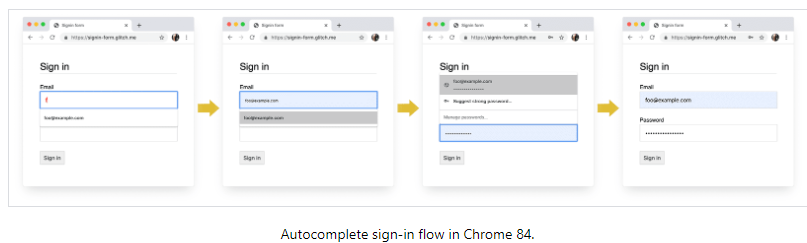 Sign  Autocomplete sign-in flow in Chrome 84.